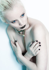 high fashion-black nails and black lips
