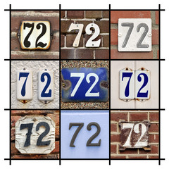 Collage of House Numbers Seventy-two