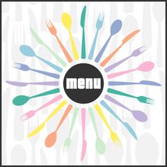 vector cutlery themed menu design