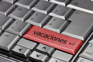 Computer Keyboard with vacaciones key
