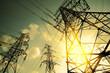 Leinwanddruck Bild - The power transmission towers of sky background