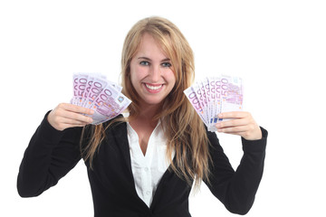 Happy businesswoman with a lot of money