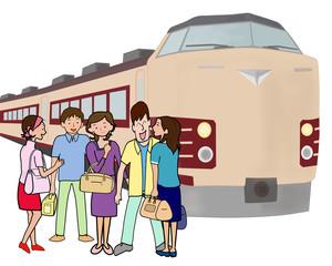 若者グループの鉄道の旅