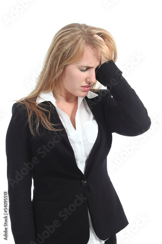 Stressed businesswoman with her hand in forehead