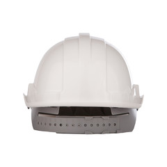 rear view of white safety helmet isolated backgorund
