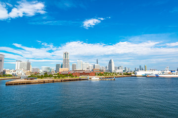 Scenic view of Yokohama bay viewed from Osanbashi-Pier in Japan