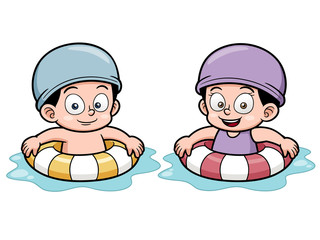 Vector illustration of Kids swimming