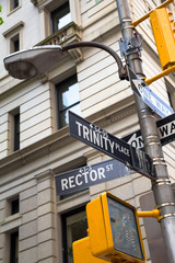Street sign ntersection of Trinity and Rector NYC