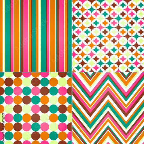 seamless stripes, zig zag and polka dots background