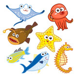 cartoon sea animals set with white background