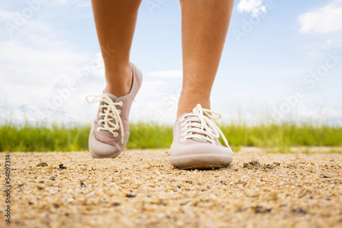 Close Up Woman Walking Outdoors