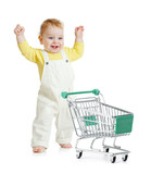 happy baby walking with shopping cart