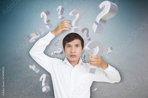 Man Carrying Question Mark,Take It Out