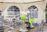 Inside a catering tent for reception