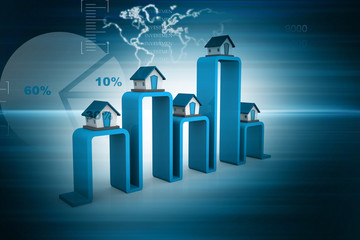 real estate graph on abstract background