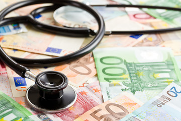 stethoscope and the euro banknotes