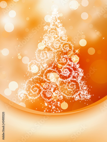 Christmas Tree on bokeh, Greeting Card. EPS 8