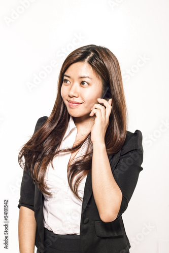 Asian woman at phone