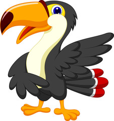 Cute toucan cartoon presenting