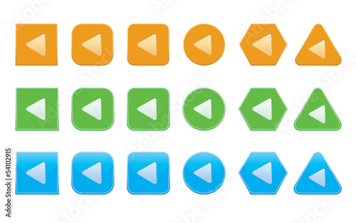 set of back arrow icons of different shape