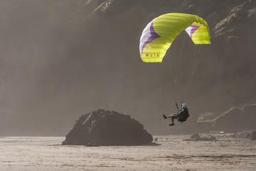 paraglider landing on beach