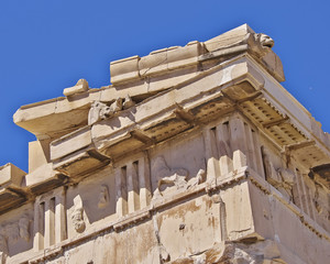 Parthenon, ancient greek temple detail, horse and lion heads