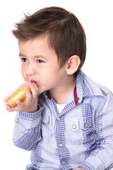 Boy eating a donut