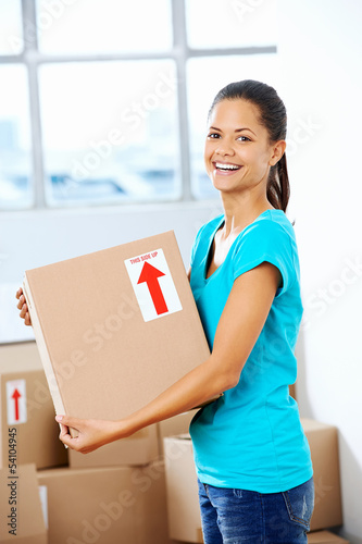 girl moving in box