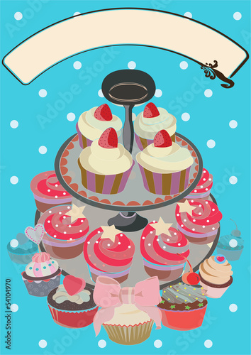 Cakes with fruit, vector illustration, file included
