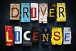 Driver license word on vintage car number plates, concept sign