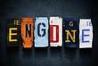 Engine word on vintage car license plates, concept sign