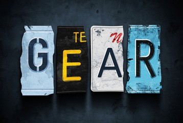 Gear word on vintage car license plates, concept sign