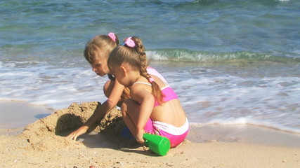 Children playing at beach.