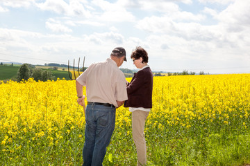 Farmer and Agraringeniuer discuss the rape field