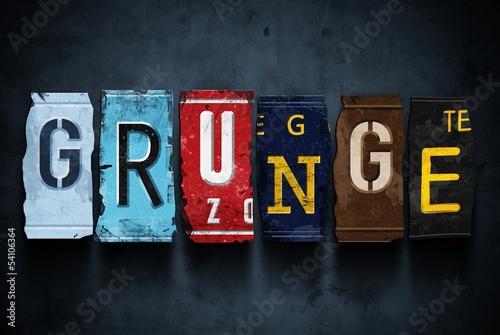 Grunge word on vintage car license plates, concept sign
