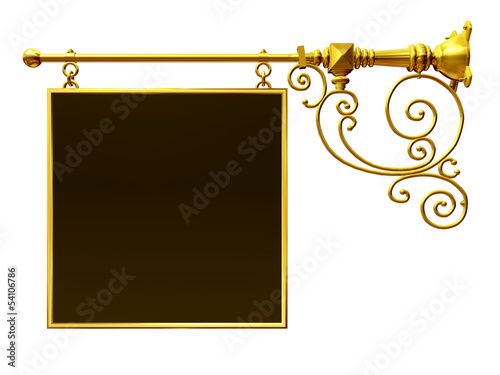 golden wrought iron signboard, separated and with text field