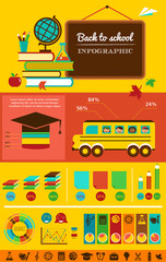 back to school infographic, data and graphic elements