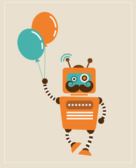 Hipster Vintage retro Robot with balloons