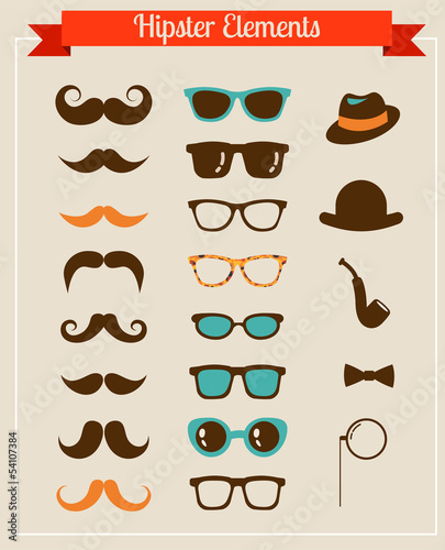 Hipster Vintage retro icon set