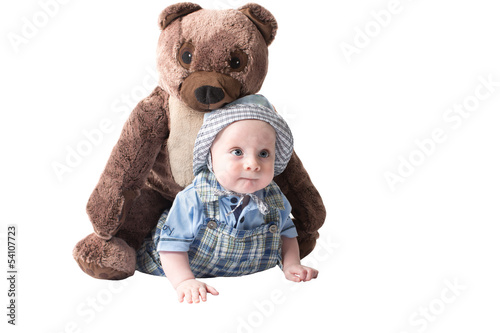 Adorable child boy with rplush toy teddy bear