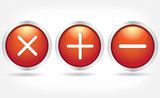 Red glass buttons with plus signs, minus and cross