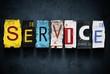 Service word on vintage car license plates, concept sign