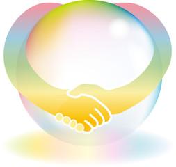 握手 地球 虹色