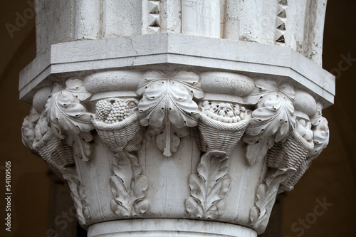 Venice -  the capitals of the columns of the Ducal Palace