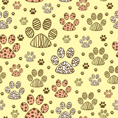 Seamless pattern with animal paws