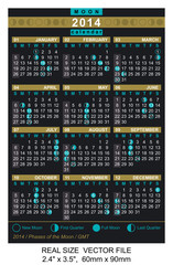 Pocket  calendar 2014 with Phases of the moon/ GMT