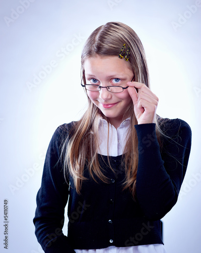 Portrait of a teen girl with glasses