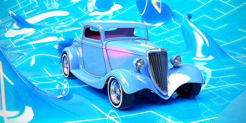 classic hot rod in abstract environment 3d illustration