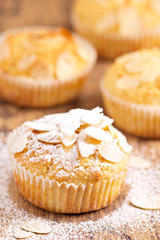 Almond muffins sprinkled with sugar