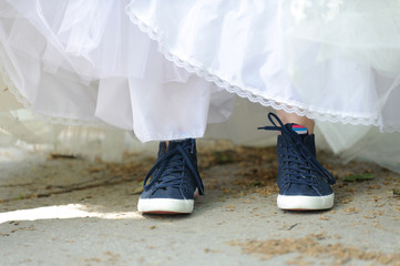 Bride in Blue Sneakers